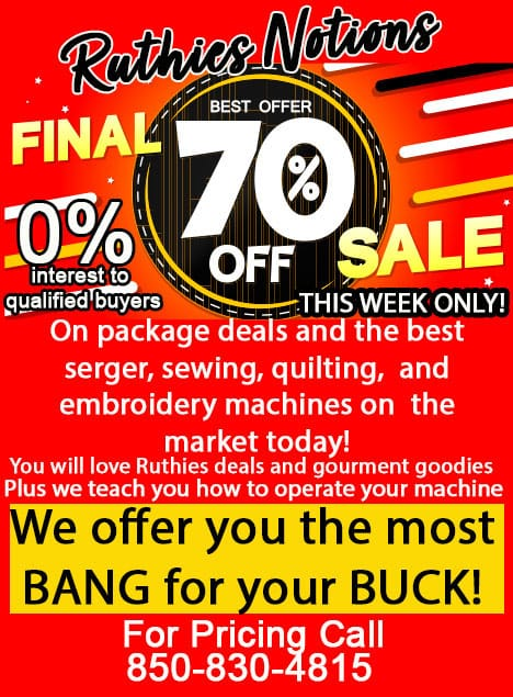 70% Off Embroidery Machines
