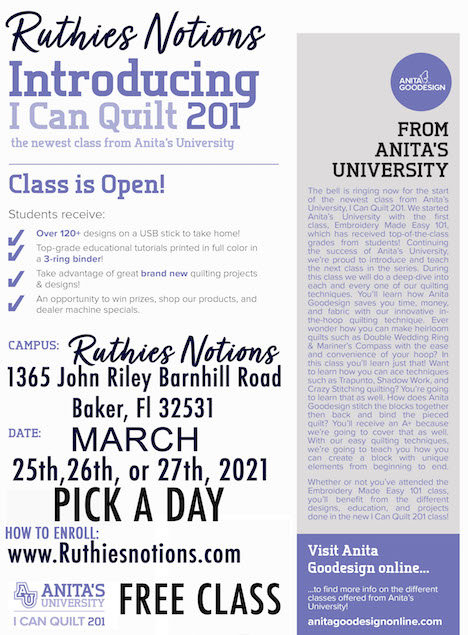 Anita Goodesign 201 I can quilt march 2021