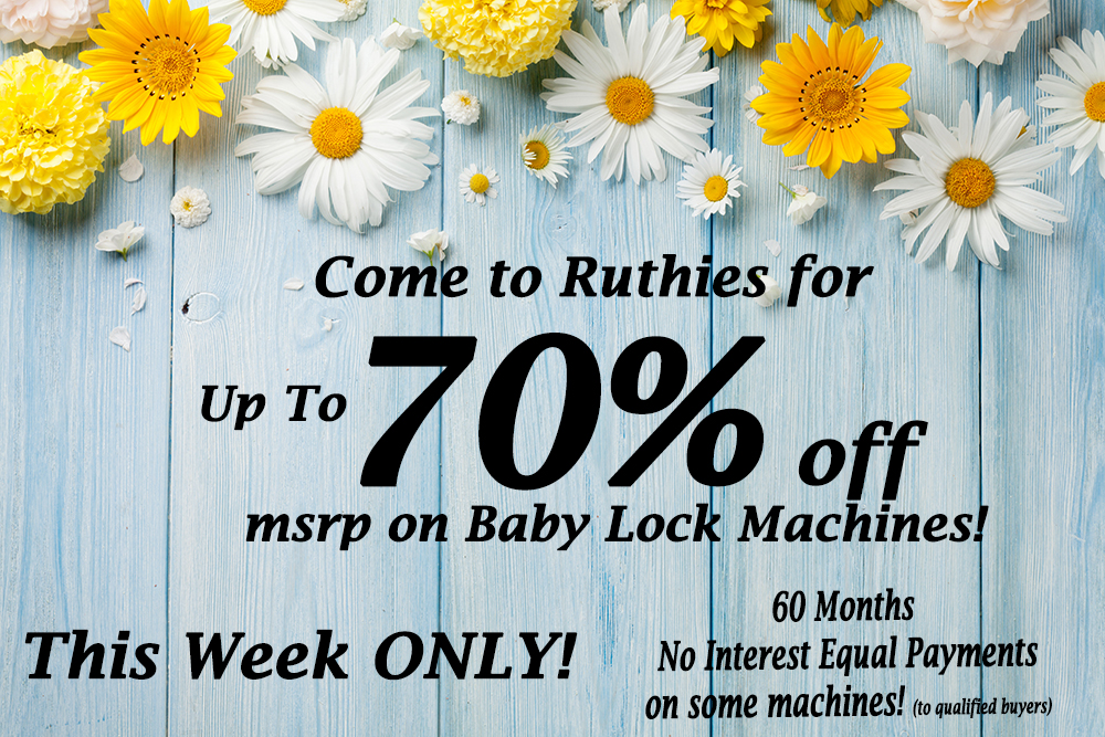 70% off Baby Lock Machines