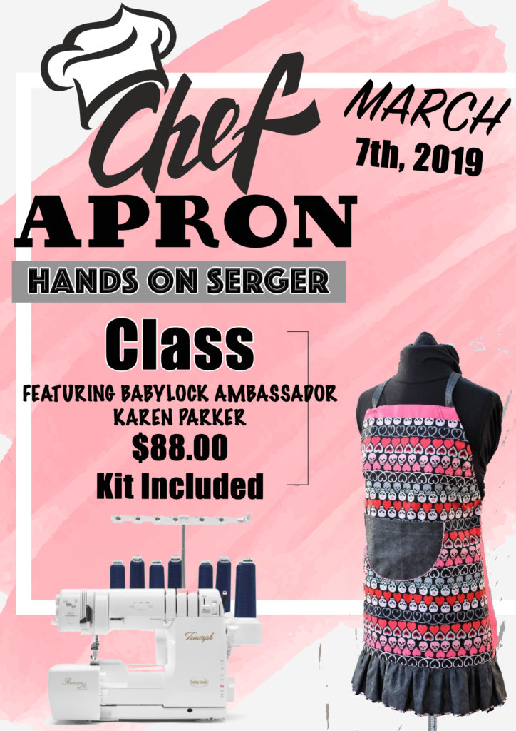 Sassy chef apron with Karen Parker