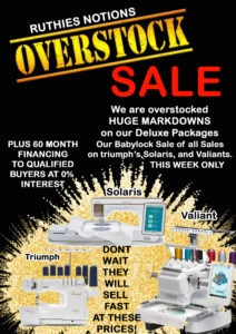 Overstock sale on BabyLock and Brother Machines
