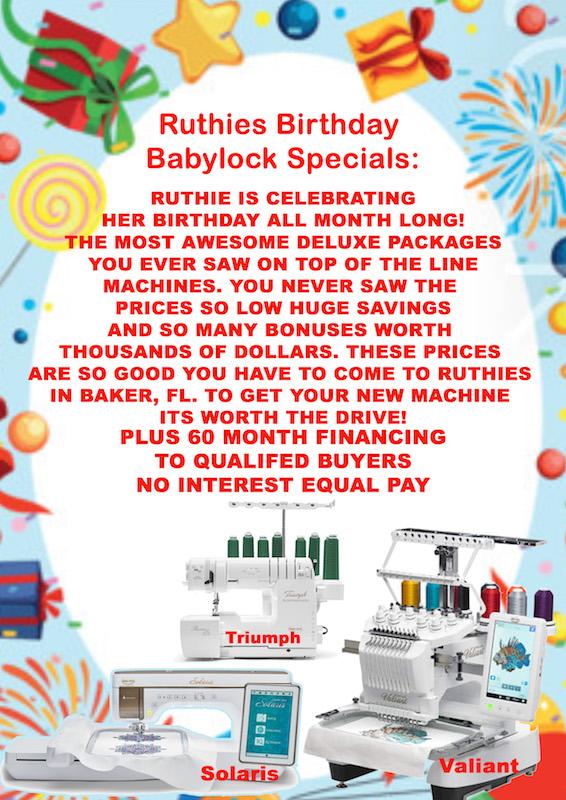 Baby Lock Machine Specials