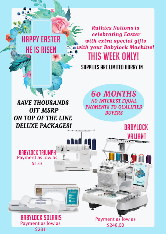 Babylock Machine Easter Specials - Ruthies Notions
