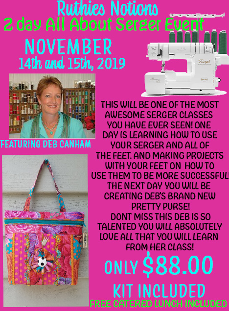 2 day all about serger with Deb Canham Nov 14 15