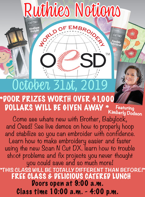 OESD world of embroidery Oct 31st