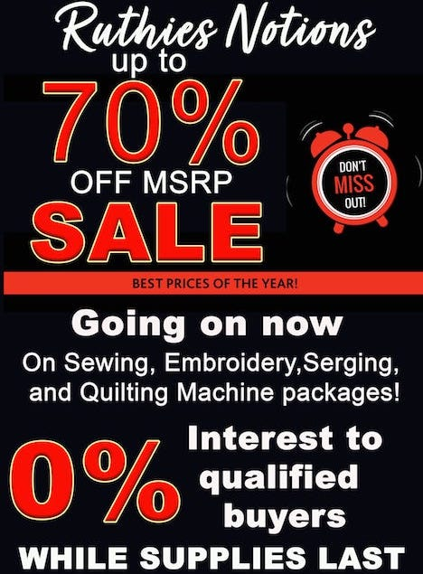 70% Off MSRP Brother Machines
